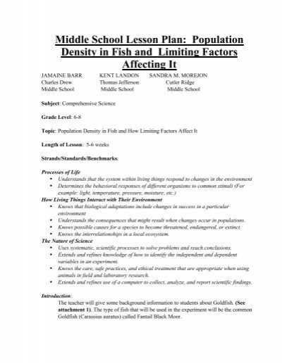 Middle School Lesson Plan Population Density In Fish And Limiting