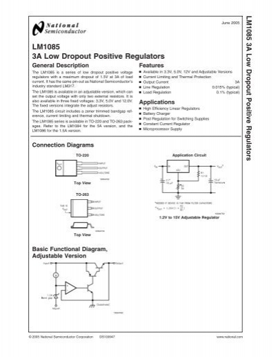 LM1085IS-ADJ Adjustable 3A Low Dropout Positive Regulator TO-263 NSC