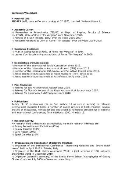 Curriculum Vitae Short Personal Data Andrea Fisica Sapienza