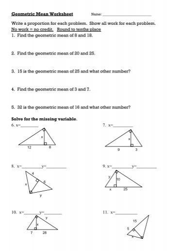 Geometric Mean Worksheet.pdf - Keller ISD Schools