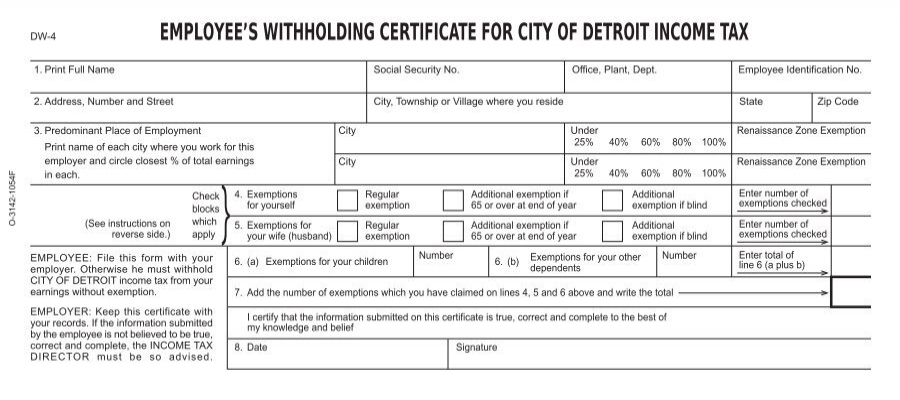 EMPLOYEE'S WITHHOLDING CERTIFICATE FOR ... - City of Detroit
