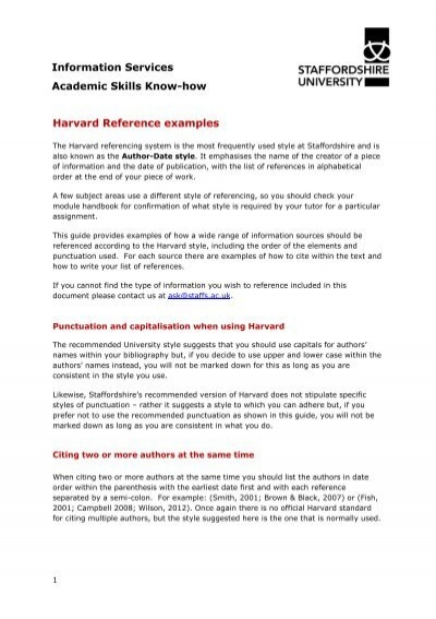Harvard referencing examples staffordshire university ccuart Choice Image