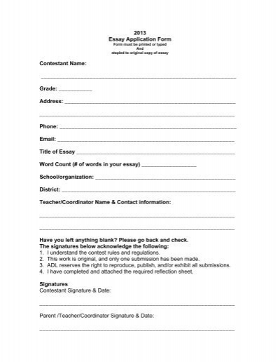 Essay Application Form on application outline, application fee, application computer,
