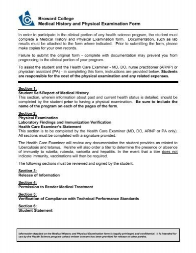 2009 medical history form nucmed broward college