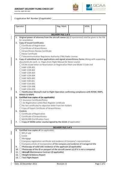 AWF-AFC-001 Aircraft Delivery Filing Check List Rev. 8.pdf