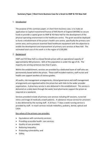 Summary paper short form business case for a nhs kirklees flashek Image collections
