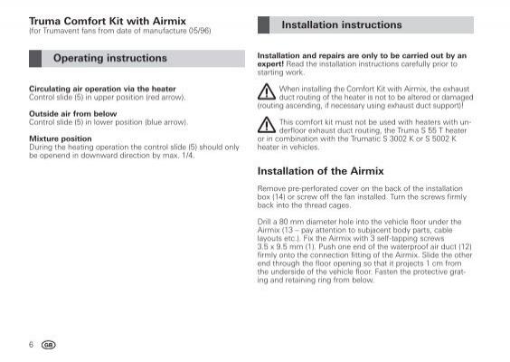 truma heater operating instructions