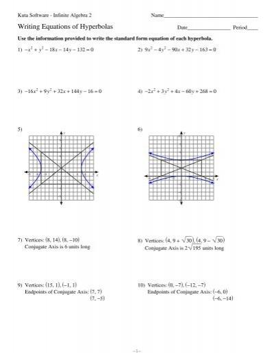 equations of hyperbolas kuta software. Black Bedroom Furniture Sets. Home Design Ideas