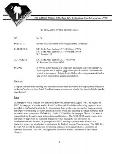 Sc Private Letter Ruling 88 9 The South Carolina Department Of