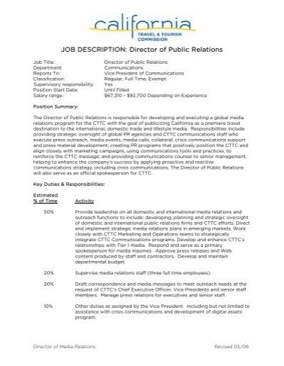 JOB DESCRIPTION: Director of Public Relations