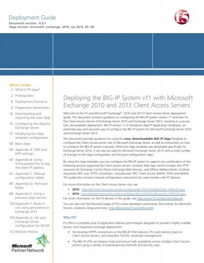 DEPLOYMENT GUIDE Exchange Server 20