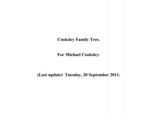 Cooksley Family Tree  For