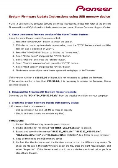 Download the update instructions - Pioneer