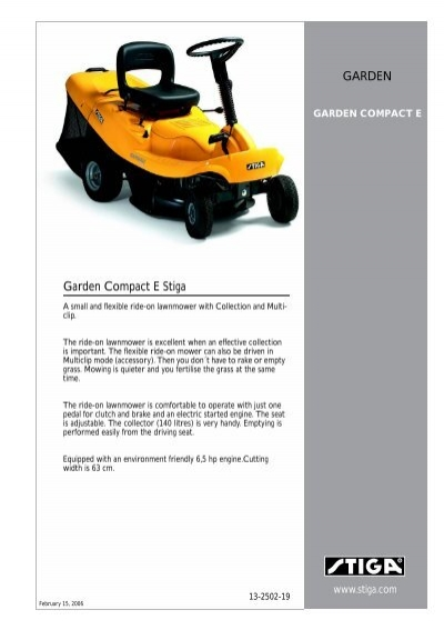 stiga garden compact e garden stiga org rh yumpu com stiga garden compact e service manual stiga garden compact user manual