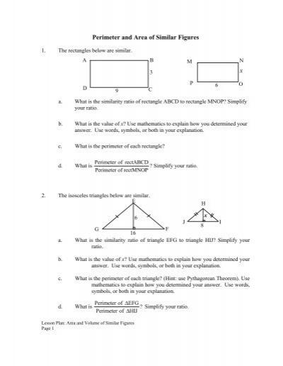 X Perimeter And Area Of Similar Figures Mdk12