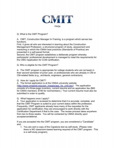 FAQs Q. What is the CMIT Program? A. CMIT, Construction ... - CMAA