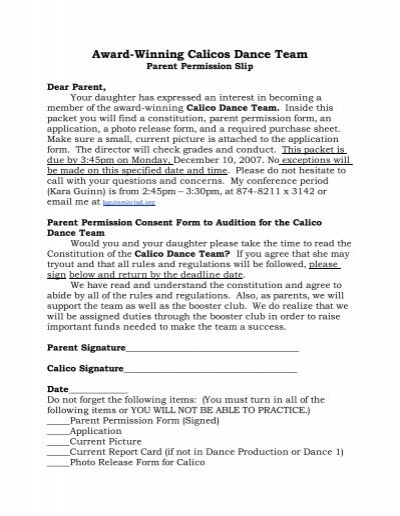 Parent Release Form Parent Permission Letter Parental Permission