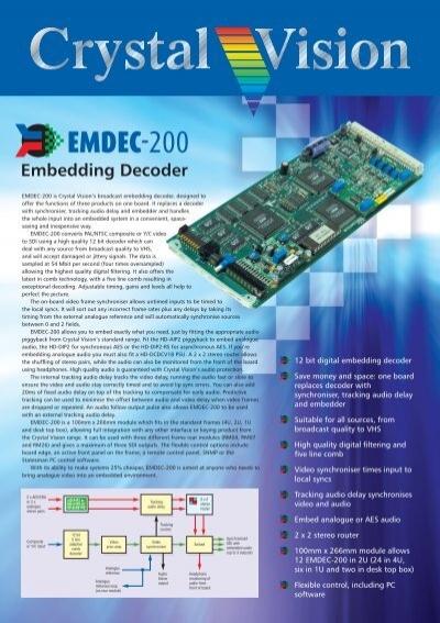 Crystal Vision brochure: EMDEC-200 embedding decoder