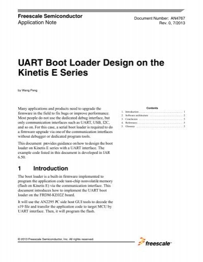 AN4767, UART Boot Loader Design on the Kinetis E Series