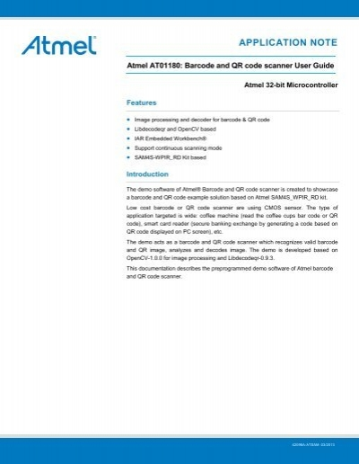 Atmel AT01180: Barcode and QR code scanner     - Atmel Corporation