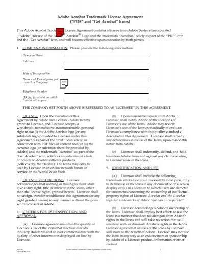 Adobe Acrobat Trademark License Agreement Pdf And Get