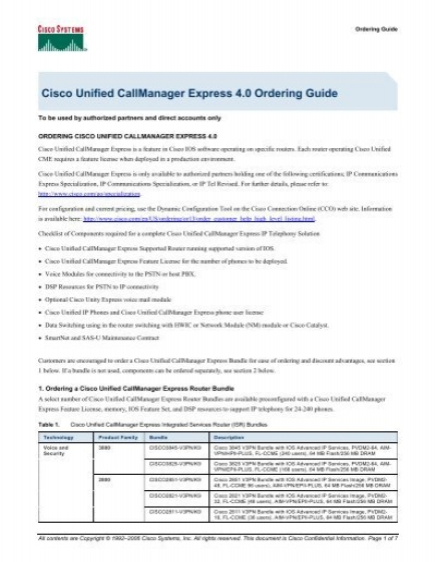 Cisco Unified CallManager Express 4 0 Ordering Guide - Ingram Micro
