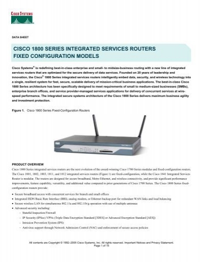 Cisco CISCO1811//K9 1811 8-Port 10//100 Integrated Services Security Router w// iOS