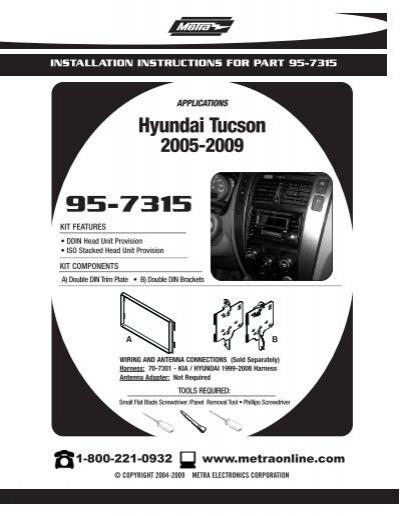 Metra 95-7315 Double DIN Installation Dash Kit for 2005-2009 Hyundai Tucson Metra Electronics Corp