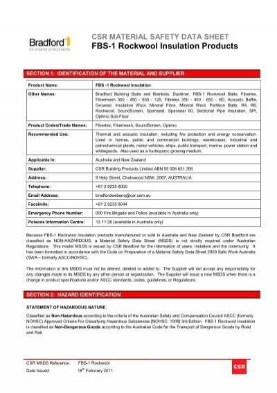 rockwool msds austral insulation