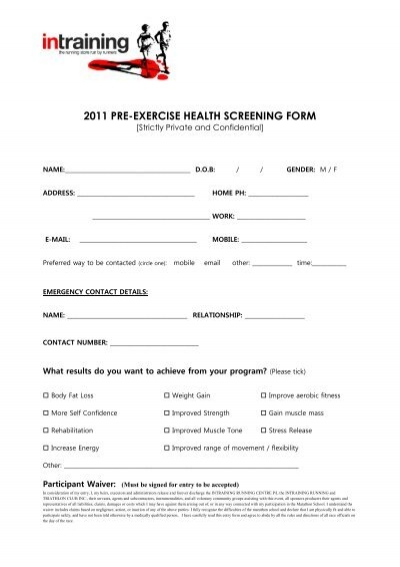 2011 pre exercise health screening form intraining pronofoot35fo Choice Image