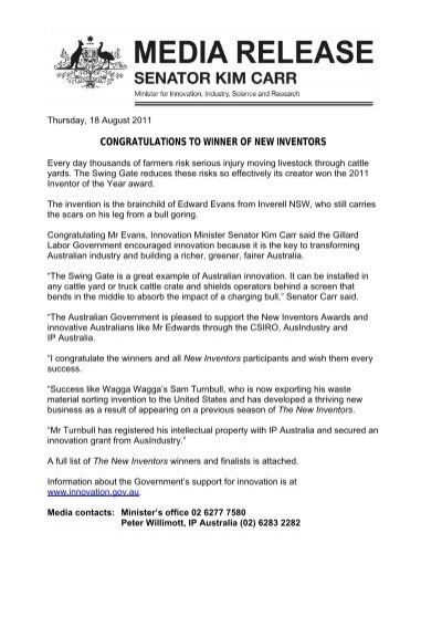 media release template minister carr national measurement