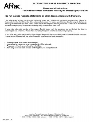 Accident Illness Claim Form ACE Group – Aflac Claim Form
