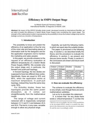 Efficiency in SMPS Output Stage - International Rectifier