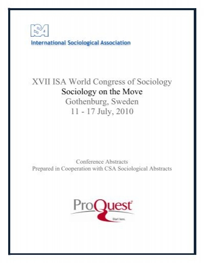 Xvii Isa World Congress Of Sociology Sociology On The Move