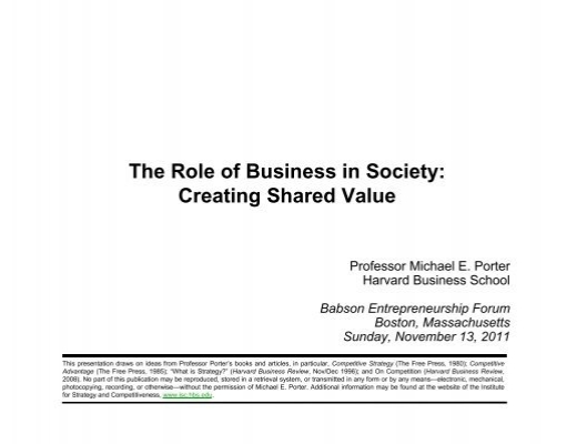 The Role Of Business In Society Creating Shared Value