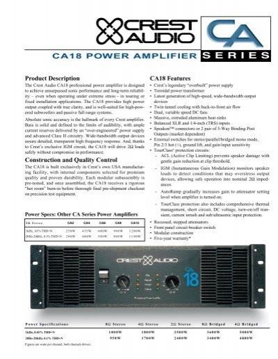 ca18 power amplifier crest audio rh yumpu com Crest CA18 Capacitors 5000 Watt Amp