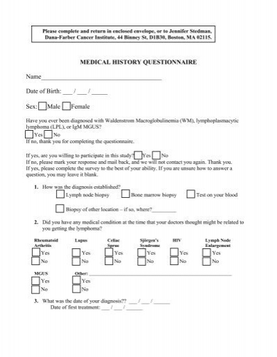 medical history questionnaire