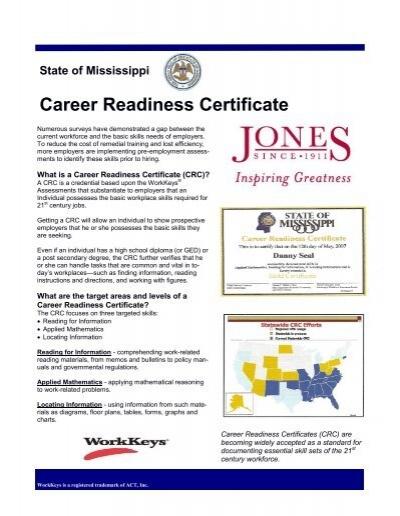 Career Readiness Certificate - Jones County Junior College