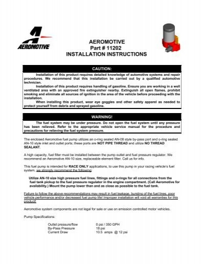 Aeromotive 11202 Fuel Pump Installation Instructions - Jegs