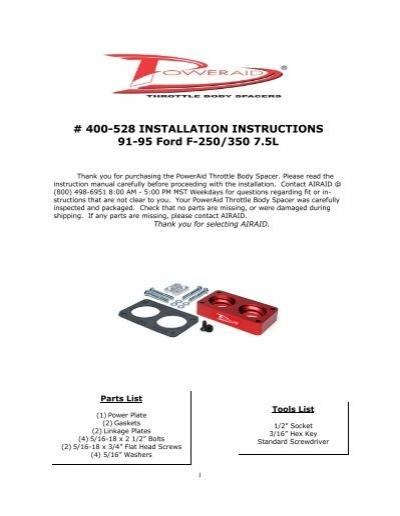 airaid 400 528 throttle body spacer installation instructions jegs rh yumpu com Owner's Manual Instruction Manual Example