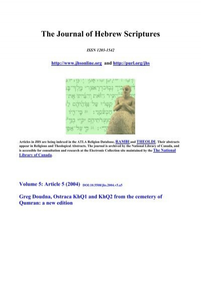 Ostraca KhQ1 and KhQ2 from the Cemetary of Qumran - Journal of