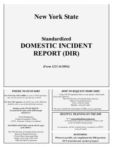 New York State DOMESTIC INCIDENT REPORT DIR