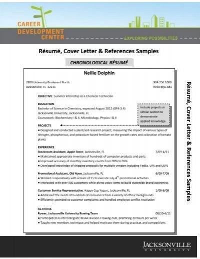 Résumé, Cover Letter & References Samples - Jacksonville ...