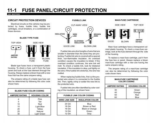 11-1 fuse panel  circuit protection