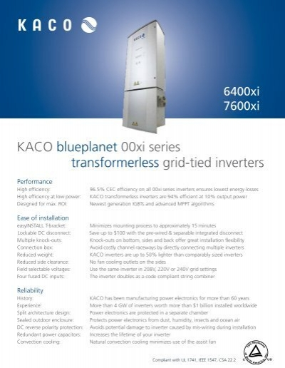 Kaco blueplanet 00xi series transformerless grid tied inverters asfbconference2016 Gallery