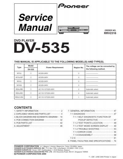 Pioneer Dv 535 Pdf