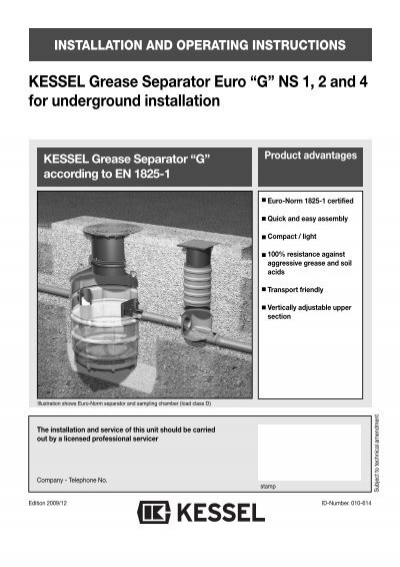 "KESSEL Grease Separator Euro ""G"" NS 1, 2 and 4 ... - Kessel Design"