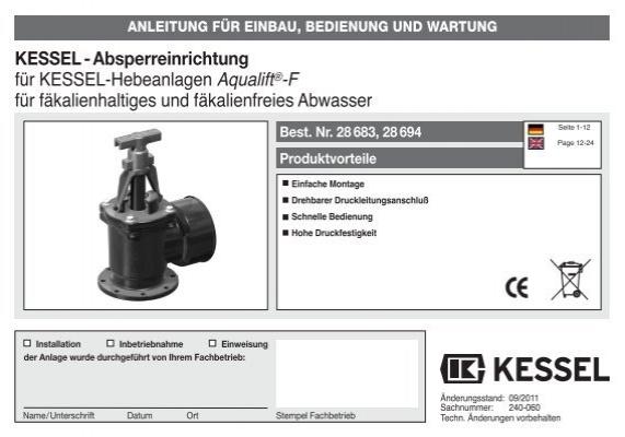 KESSEL-Absperreinrichtung für KESSEL-Hebeanlagen Aqualift®-F ...