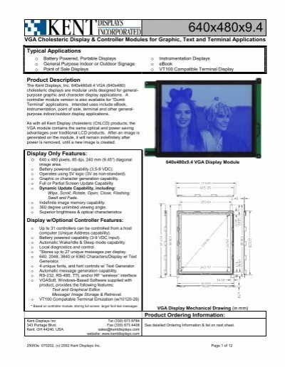 1/8 VGA Display Spec  Sheet - KHALUS Electronics