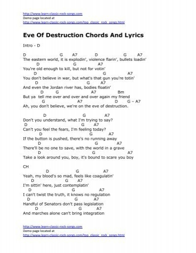 Eve Of Destruction Chords And Lyrics - Kirbys Covers For Country